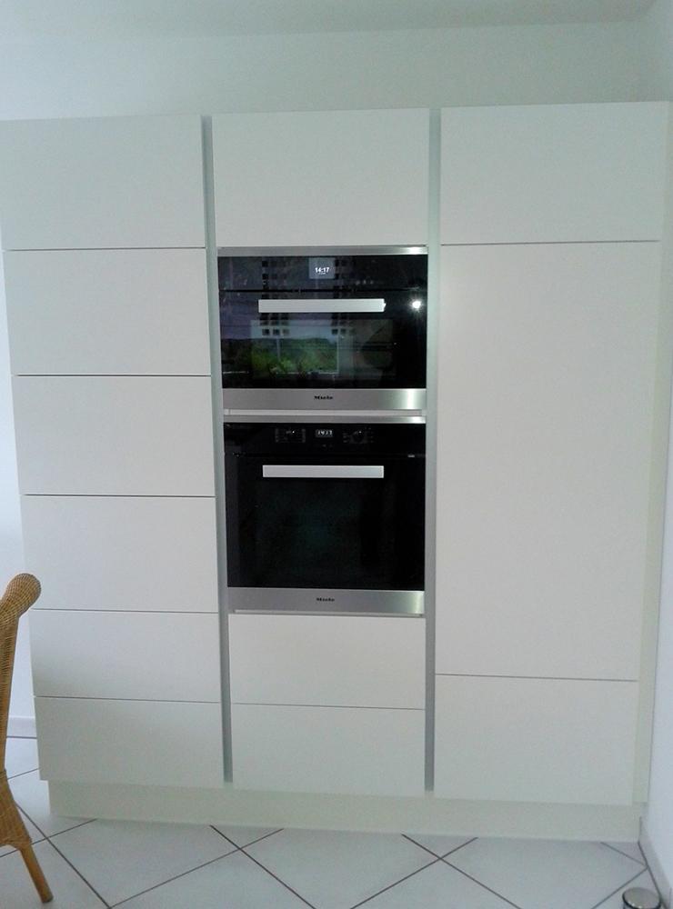 Wälde Küche Hochschrank Weißlack grifflos