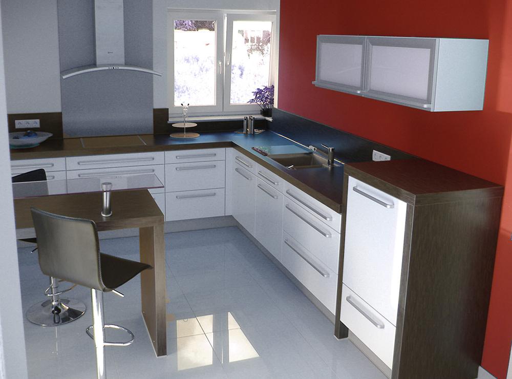 Wälde Küche Weißlack LForm