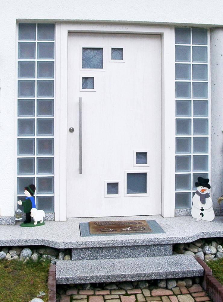 Wälde Türen Eingangstür weiß Glasbausteine